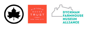 logos of parks department, historic house trust and dyckman farmhouse museum alliance