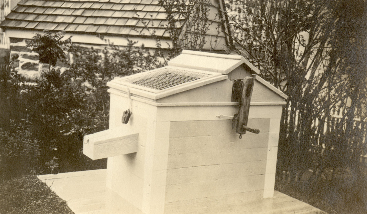 Circa 1916 view of the original well head at Dyckman Farmhouse