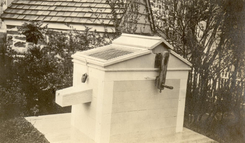 Circa 1916 view of the original well head at Dyckman Farmhouse