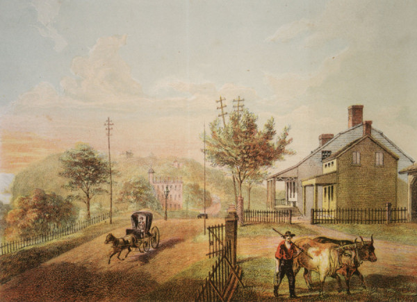 1866 Lithograph of the Dyckman Farmhouse showing a view looking north on Broadway towards what is now Fort Tryon Park.