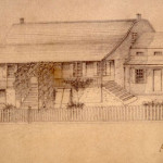 Earliest known sketch of the Dyckman Farmhouse, c. 1835.