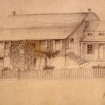 Earliest known sketch of the Dyckman Farmhouse, c. 1835.