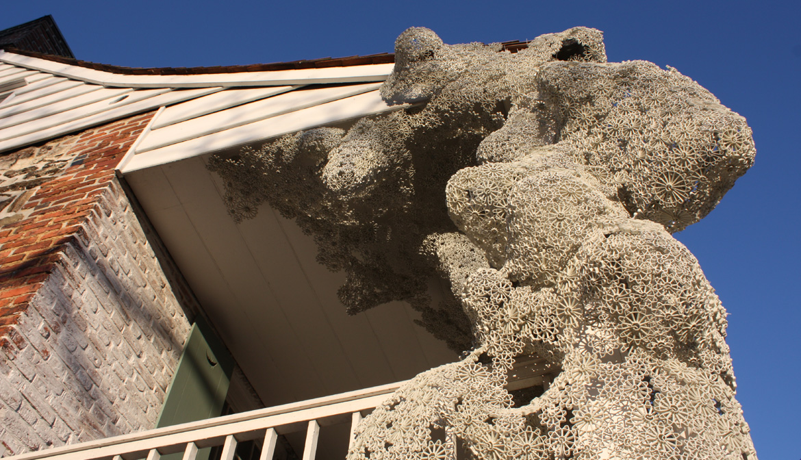 View of the Sculpture installed by Arttist Tanja Smeets on the front of Dyckman Farmhouse.